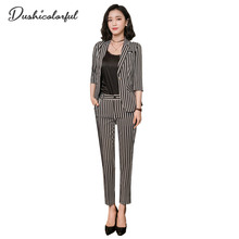 Dushicolorful Work Pants suit Women  Formal Business Office sets ladies three quarter Striped Blazer Jacket 2 Piece