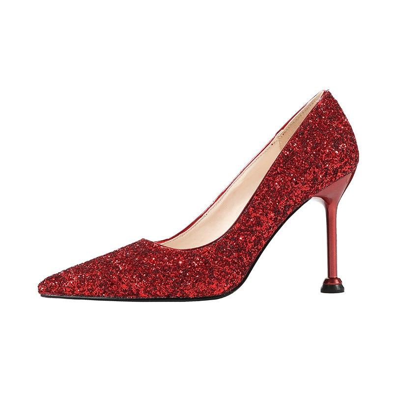 2019 primavera e in autunno stiletto a punta scarpe di alta-scarpe col tacco alto locale notturno sexy sottile delle donne di paillettes rosso 05102019 primavera e in autunno stiletto a punta scarpe di alta-scarpe col tacco alto locale notturno sexy sottile delle donne di paillettes rosso 0510