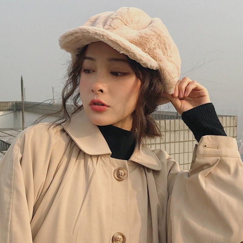 HT2209 Autumn Winter Women Hats Soft Fleece Fur Women Berets Solid Plain Octagonal Newsboy Caps Vintage Artist Painter Women Cap