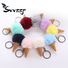9 Colors Fluffy Fur Ice Cream Keychain Cute Fuax Rabbit Fur Ball Pompom Key Chain For Women Car Bag Charms Keyring Pendant(China)