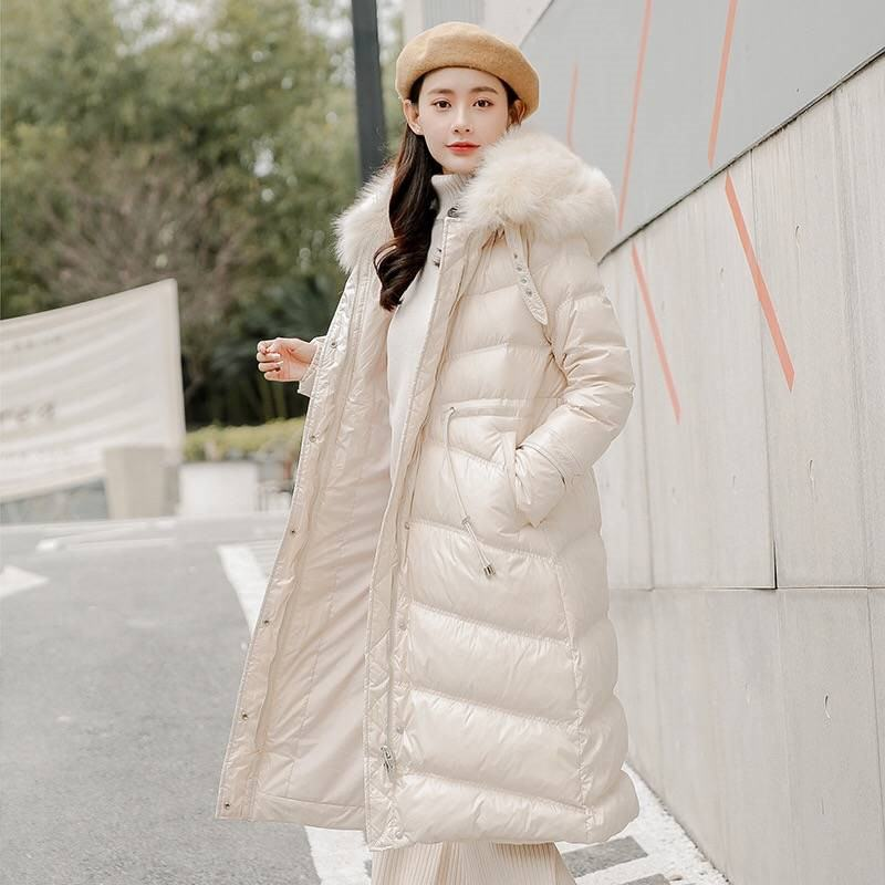 2019 Winter Women Large Real Fox Fur Collar White Duck Down Jacket Female Korean Style Puffer Warm Long Coat Parka Mujer M05