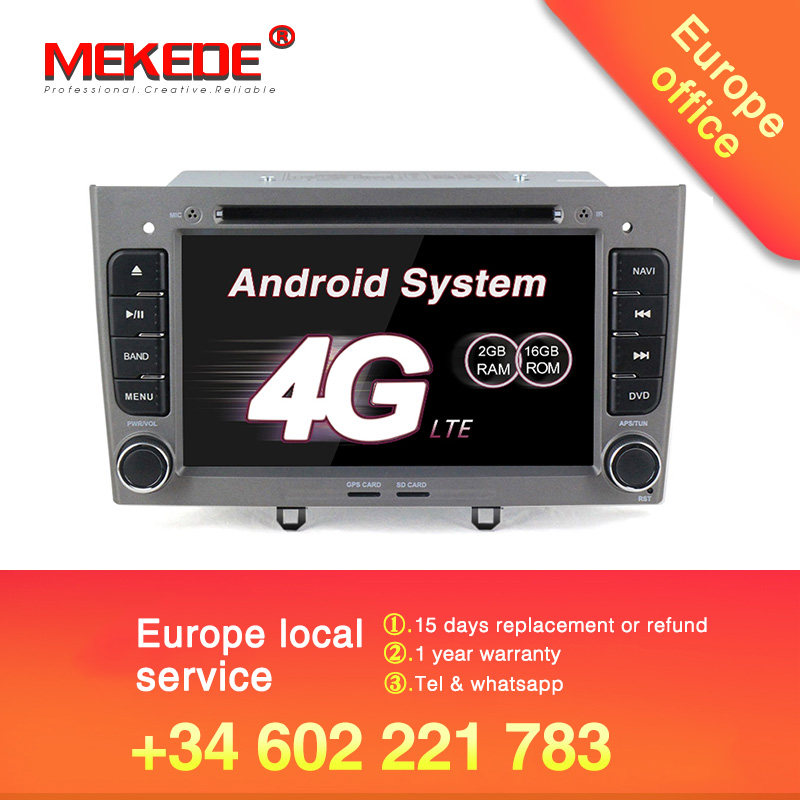 MEKEDE free shipping car multimedia player for Peugeot 308 408 HD screen 1024 600 screen Quad