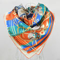 2014 New Style Blue Chain Pattern Silk Scarf Shawl Spring Autumn Women Scarf Wraps 100% Mulberry Silk Twill Square Scarf Printed