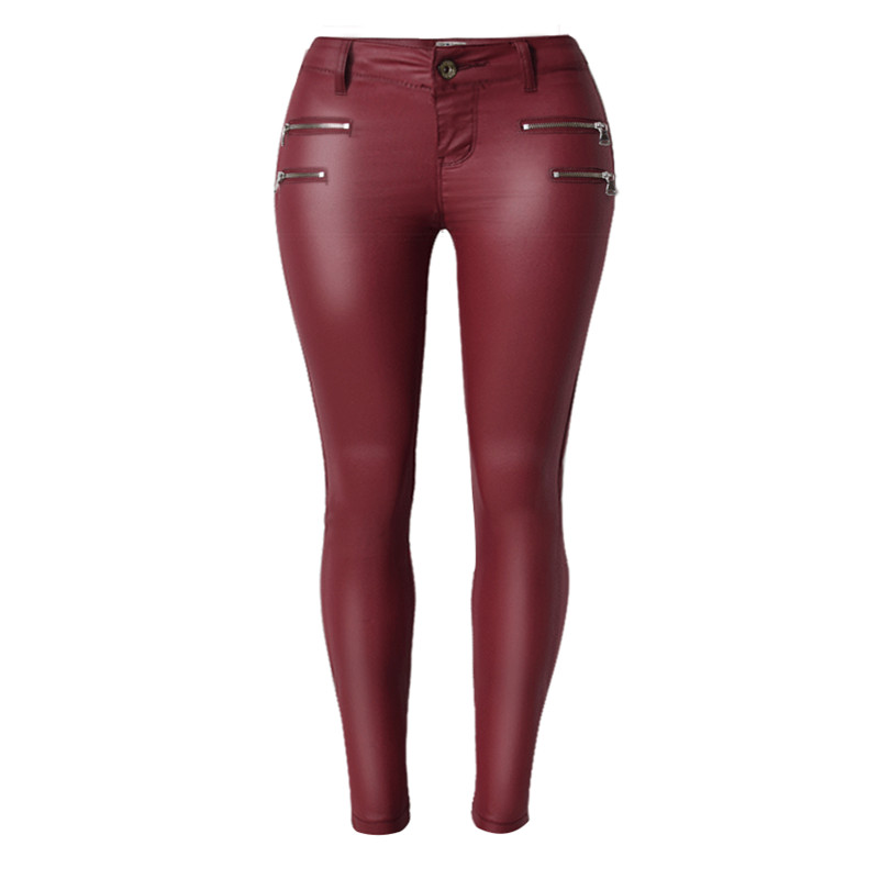 2016 Hot Sexy European and American Style Women Low Waist Slim PU Leather Double Zipper Leather