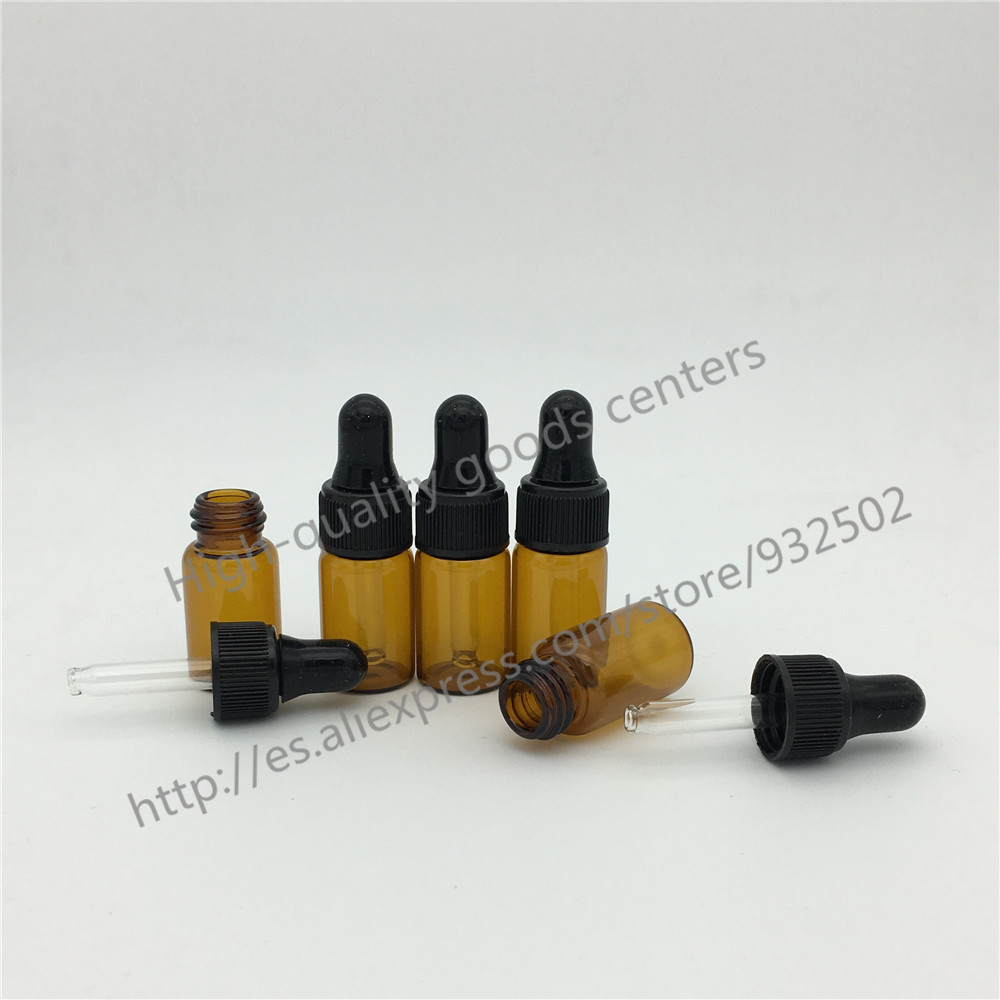 Free shipping 50PCS 3ml Amber Glass Dropper Bottle Jars Vials
