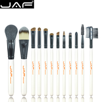 Free Shipping 12PCS Makeup Brush Set Professional With Black Leather Case Cosmetic Brushes Tools J1201P