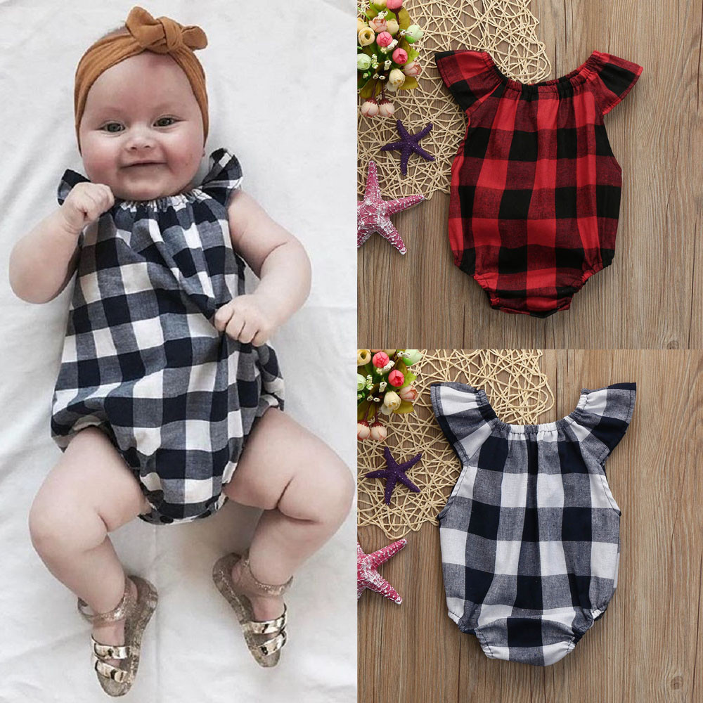 baby rompers Newborn Kids Baby Girls Boys Clothes Sleeveless Plaid Romper Jumpsuit Pajamas Cotton High Quality Jumper Clothing одежда на маленьких мальчиков