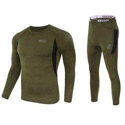 Inverno de alta qualidade nova roupa interior térmica dos homens conjuntos compressão velo suor secagem rápida thermo roupa interior masculina