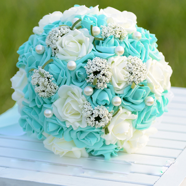 Tiffany blue Foam Rose Bouquet Artificial Flower Bride Bridesmaid ...