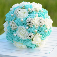 Tiffany blue Foam Rose Bouquet Artificial Flower Bride Bridesmaid Holding Flower with Lace Silk Pearls for Wedding Decoration