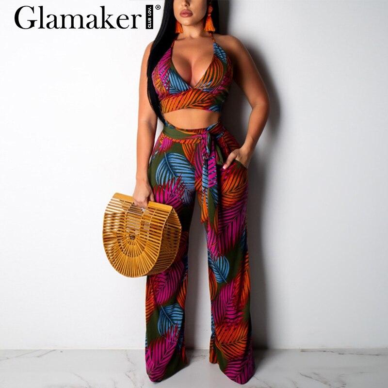 Glamaker Sexy plus size halter long   jumpsuit   Women two piece suit wild leg jump suit romper Female summer slim backless overalls