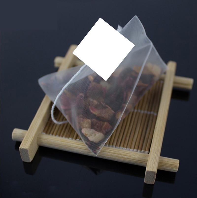 2000pcs/lot 5.8*7cm Pyramid Tea Bag Filters Nylon Transparent Empty TeaBag Single String With Label 6.5*8cm
