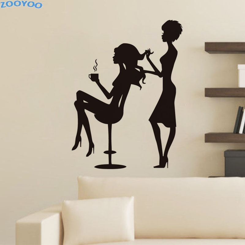 ZOOYOO Creative Beauty Salon Wall Decals Hairdresser Cuts The GirlS Hair Wall Stickers Home Decor Removable Mural Decoration