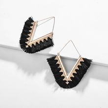 ZWPON 2019 Hot Sale Chevron Fringe Tassel Large Hoop Earrings Women Summer Ethnic V Shape Statement Triangle Earrings Wholesale