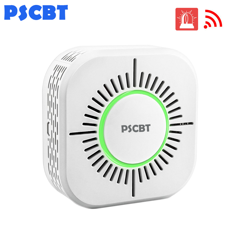PSCBT Smoke Detector Wireless 433MHz Fire Security Alarm Protection Alarm Sensor for Home Factory Security Alarm System(China)