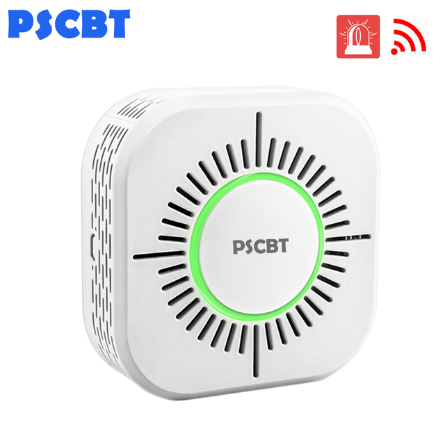 PSCBT Smoke Detector Wireless 433MHz Fire Security Alarm Protection Alarm Sensor for Home Factory Security Alarm System
