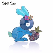 Cring CoCo Cute Rabbit Brooch Pin New Animal Metal Enamel Brooches Pins Fashion Bag Hat Badge jewelry For Women