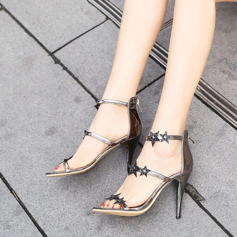plus size 34 43 Elegant Thin High Heel New Brand Woman Shoes Star Appliques Solid Sexy Women Party Wedding Summer Sandals Pumps in High Heels from Shoes