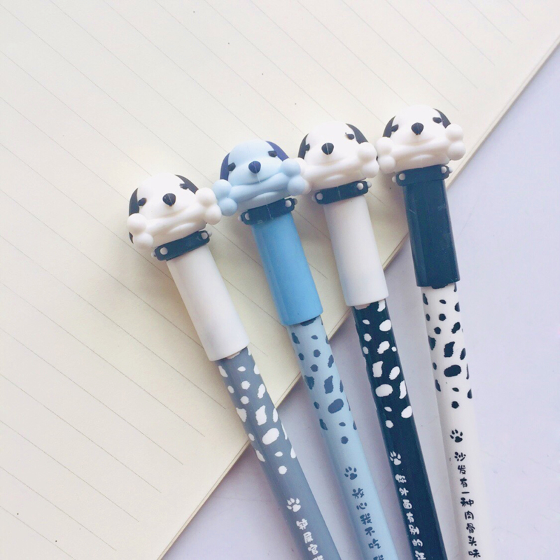 2X Kawaii Puppy Dog Silicone Erasable Gel Pen Rollerball Pen School Office Supply Student Stationery Signing Pen Blue Ink 0.5mm