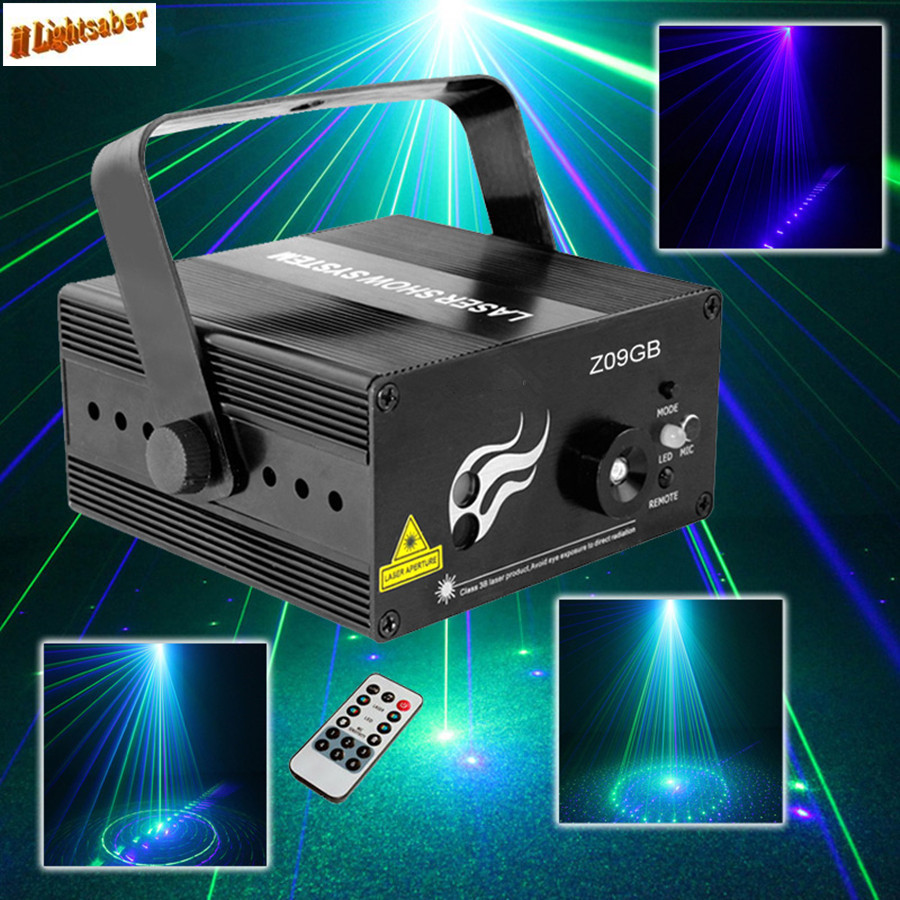 Mini Remote BG-09 LED Blue Laser Projector Stage Lighting DJ Home Party Club Bar Lights Professional Adjustable Show System ...