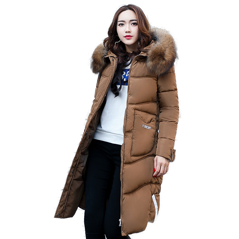 2017 Winter Coat Hooded Women Long Outwear Cotton Fur Collar Fashion Jacket Hooded Padded Warm Female Casual Parkas High Quality 2017 new solid winter jacket women hooded coat cotton padded parkas long warm sweat girls cold outwear female down jacket m 3xl