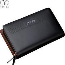 YINTE Men's Clutch Wallet Leather Phone Wallets Purse Business Men's Long Clutch Wrist Bag Black Wallet Card Holder T8106-5