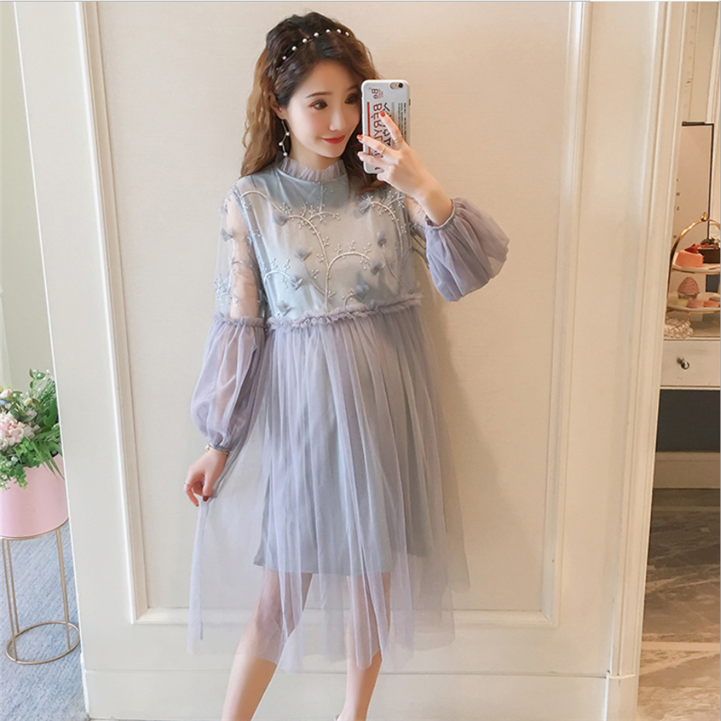 0490a2e3f18ca ... solid color long pregnant women skirt. Fashion hot mom maternity dress  2019 spring and autumn new long-sleeved embroidered dress lace