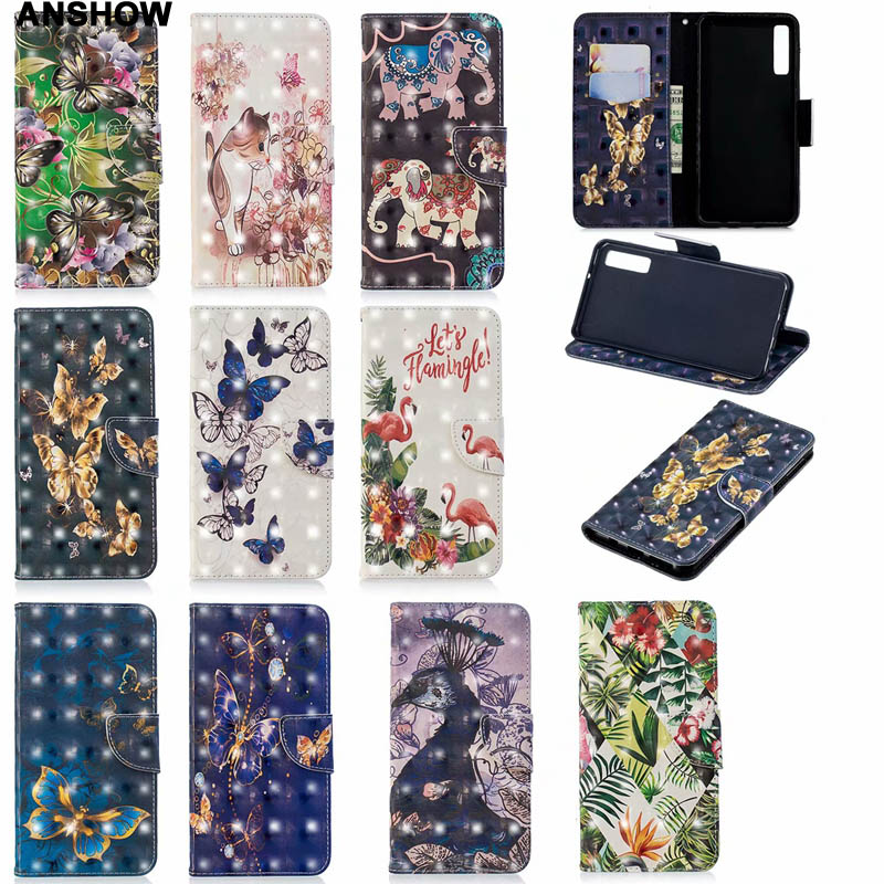 3D Butterfly Leather Wallet Case For Sony Xperia XA3 Galaxy S10 A7 2018 A750 For Huawei