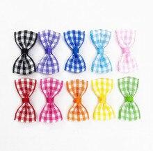 500pcs DHL Free shipping Black Plaid Mini Ribbon Bow Tartan Mini Bows  Mini fabric ribbon bows (3cm)