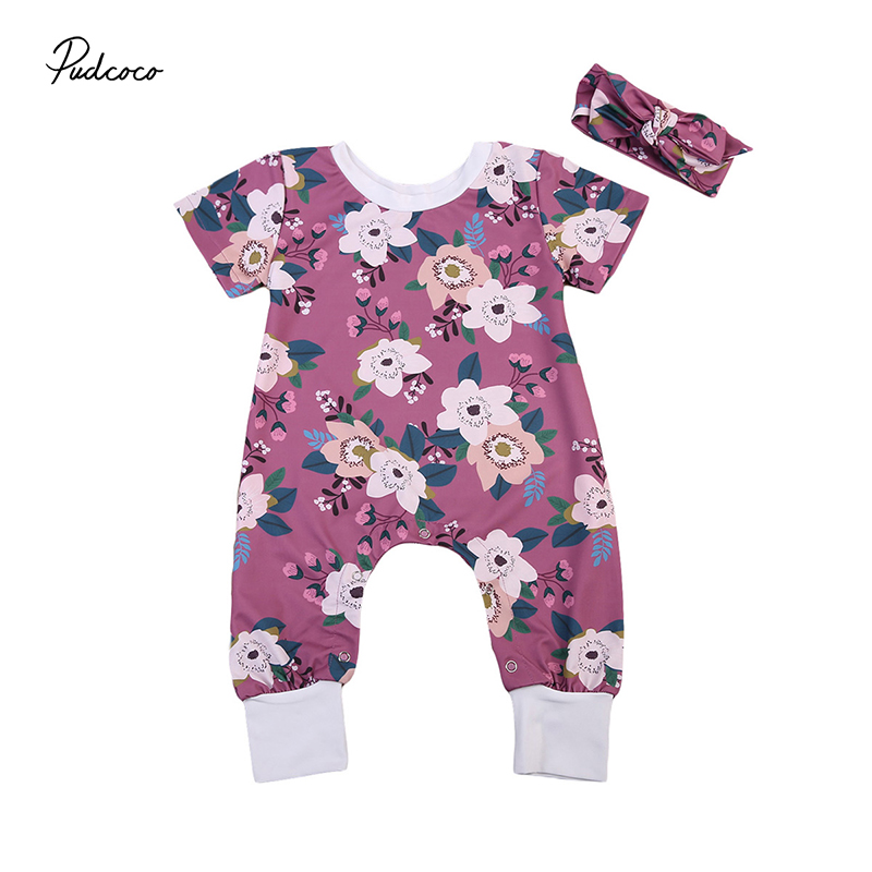 2017 Floral Newborn Clothes Short Sleeve Flower Romper Jumpsuit+Headband 2PCS Outfit Sunsuit Toddler Kids Clothing for 0-24M