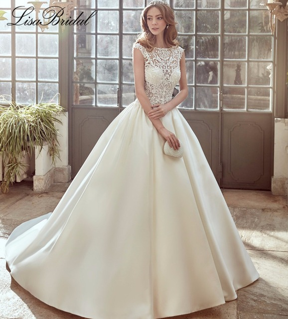 Simple Long A Line Cap Sleeve Train Lace Wedding Dresses: New Design 2017 Long Wedding Dress O Neck Cap Sleeve