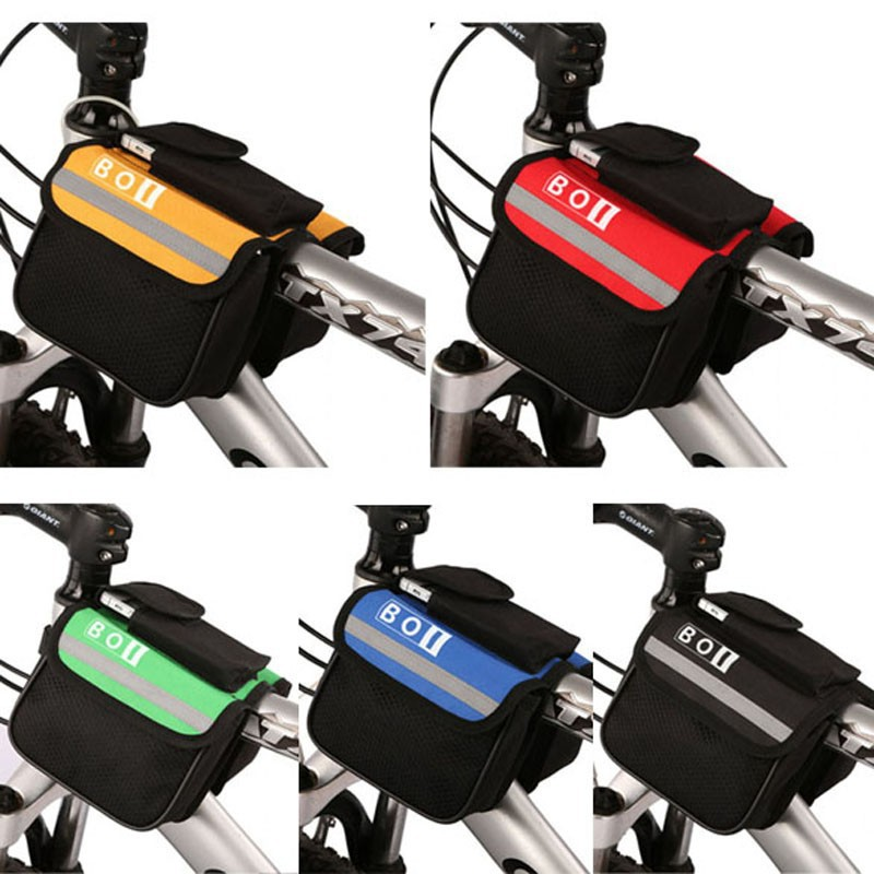 Waterproof Cycling Bag Bicycle Top Front Frame Pannier Tube Bag Double Pouch Bag
