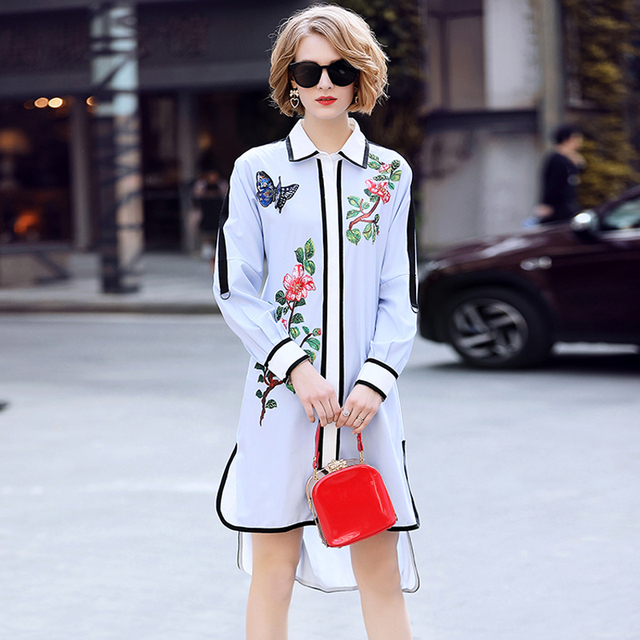 Floral Embroidery Casual Irregular Shirt Dress