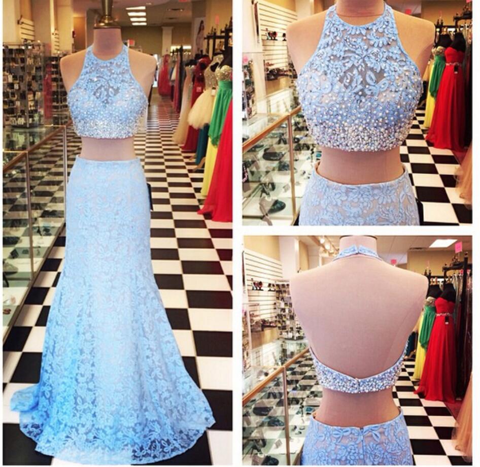441aff3b2 Azul de encaje de Memaid 2 piezas vestidos 2019 Sexy espalda abierta Halter  con reborde perlas largo de dos piezas vestidos de noche vestido de de  Fiesta en ...