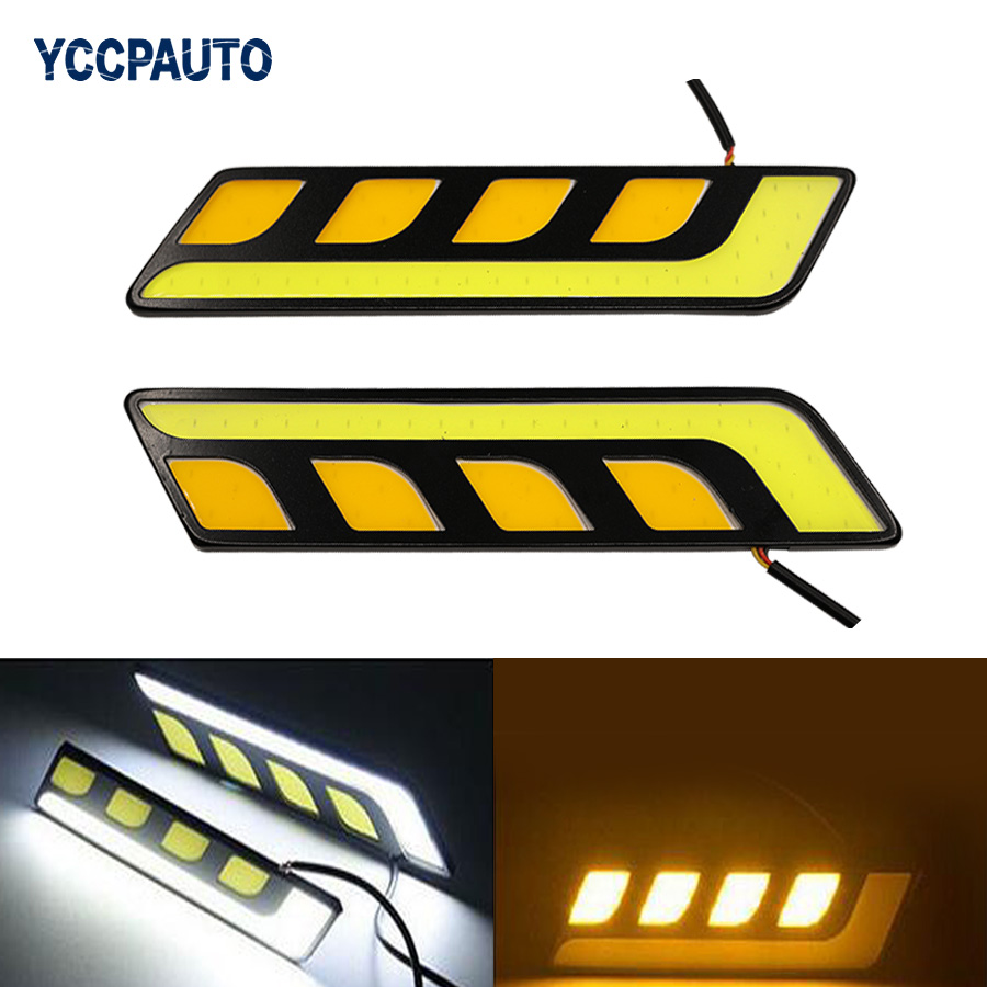 DRL Daytime Running Lights LED COB Car Styling External Waterproof White/Yellow Dual Color Car Led Light Source Fog Lamp DC12V car styling 2pcs drl front fog lamp warning aluminium alloy external light chip led diy cob universal daytime running light