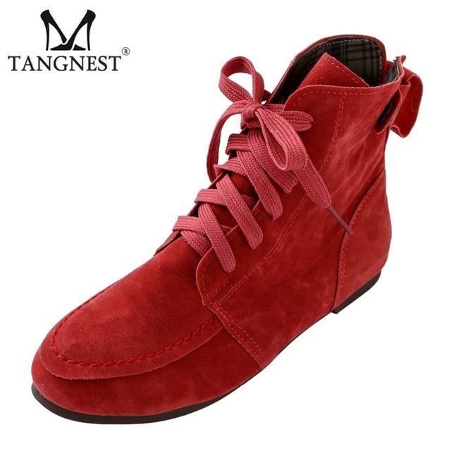 Tangnest Winter Vrouwen Martin Laarzen Rode Platform Lace Up Flats Solid Ronde Neus Enkellaars Dame Casual Mode Schoenen XWX6766