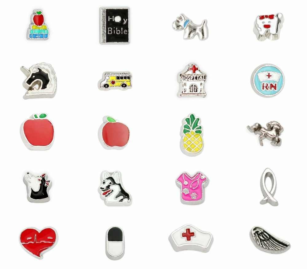 Katları seçenekleri sıcak satış apple ve kitap İncil köpek 10 adet yüzer yaşayan madalyon uygun yaşam yüzen hatıra madalyon hediye olarak