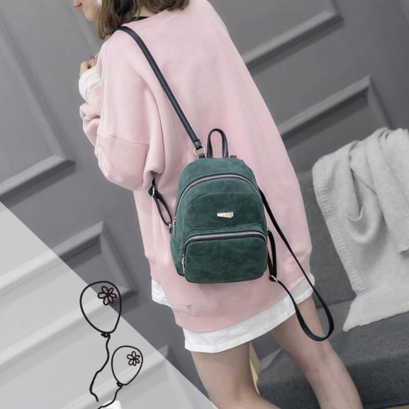 maison Backpacks new high quality Scrub leather Fashion solid Zipper Rucksack Girls School Book Bag backpack women 2018MA15