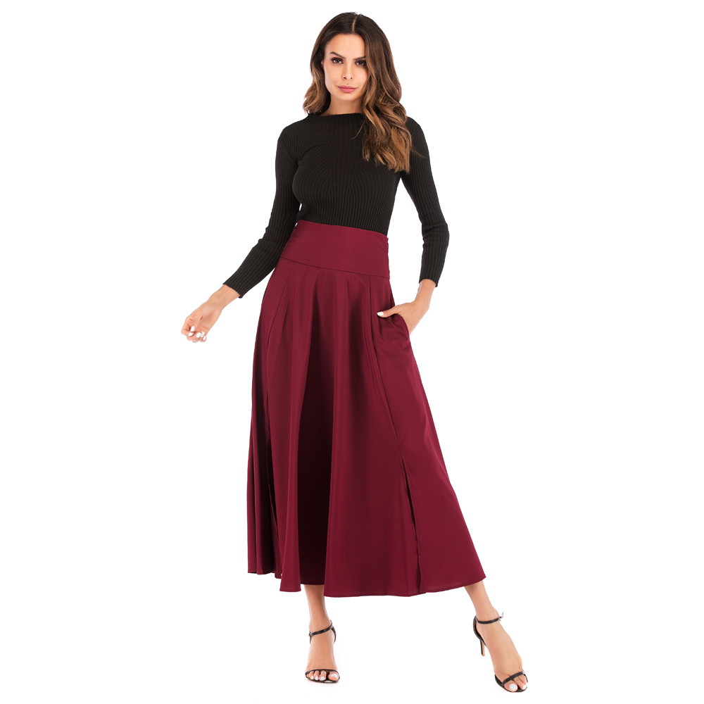 Sleeper #401 2019 NEW FASHION Women High Waist Pleated A Line Long Skirt Front Slit Belted Maxi Skirt Solid Long Free Shipping