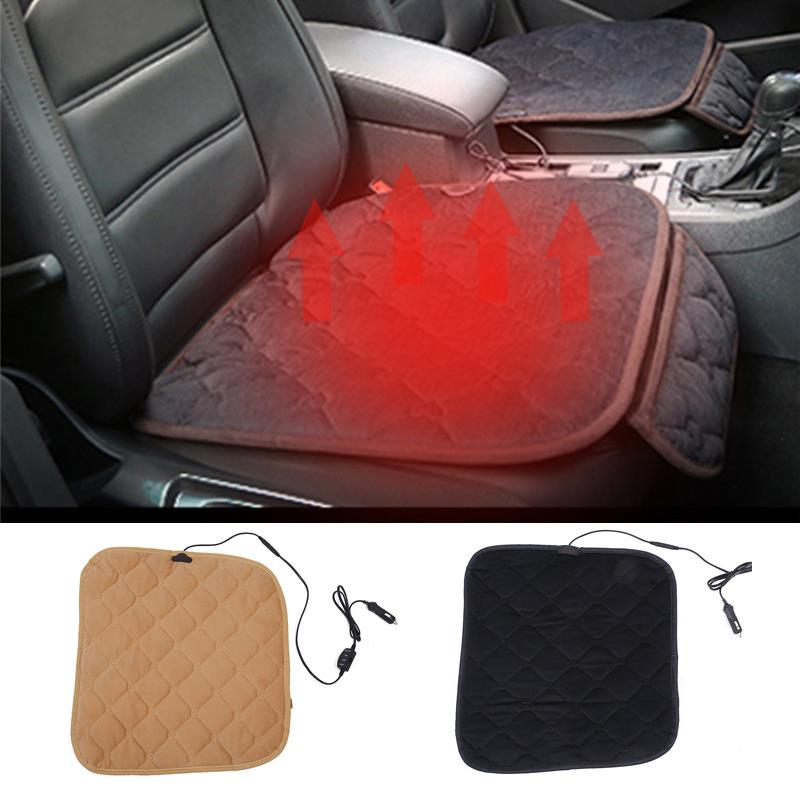 VEHEMO 12V Heated Car Seat Cushion Cover Heater Electric Heating Seat Pad Winter Warmer Car Home Office Accessories