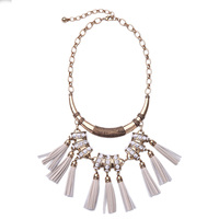 2016 Euro-American Trendy Female Imitation Leather Pendant Statement Necklace Personalized White Tassel Necklace