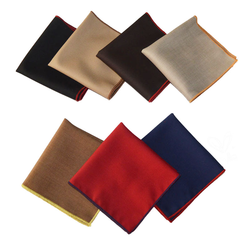 Men White Colorful Rolled Edge Pocket Square Handkerchief Wedding Hanky