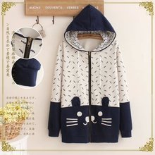2016 New Women Long Sleeve Hooded DrawString Cat Cotton Jacket Coat Pocket Singel Breasted Flower Mori Girl Japanese Style