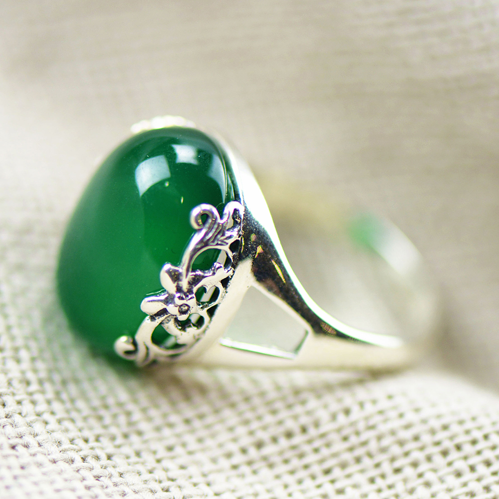 FNJ 100 Pure 925 Sterling Silver Rings for Women Jewelry Green Stone Chrysoprase S925 Thai Silver