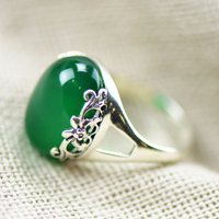 GZ 100 Pure 925 Sterling Silver Rings For Women Jewelry Green Stone Chrysoprase S925 Thai Silver