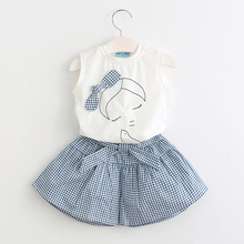 summer children clothing 2019 new girl suit new fashion lady sleeveless vest t-shirt + plaid skirt pants two-piece baby clothes все цены