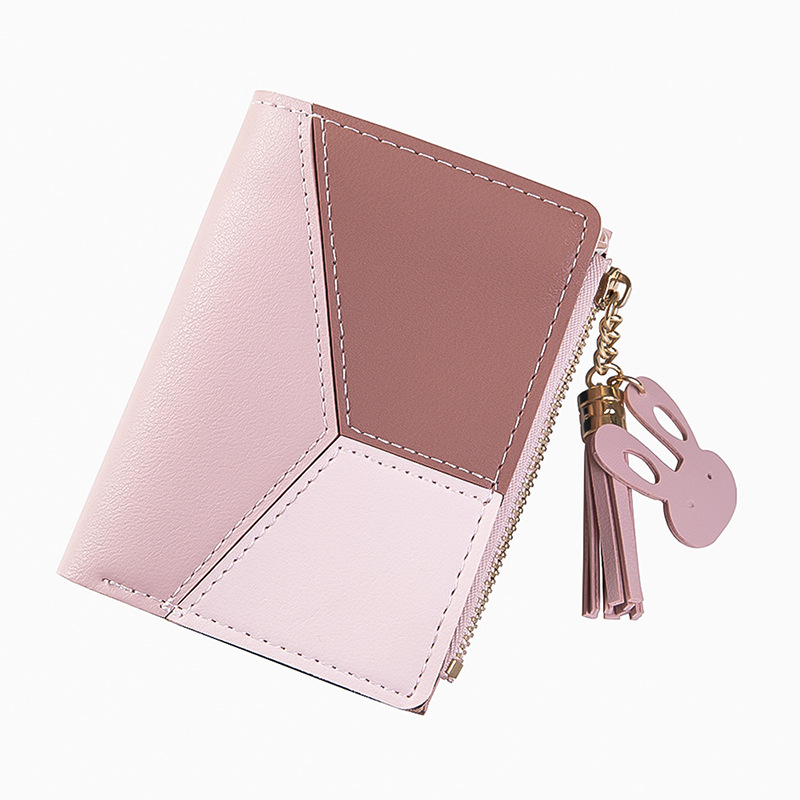2019 New Wallet Short Women Wallets Leather Zipper Purse Patchwork Fashion Panelled Wallets Coin Purse Card Holder Carteras