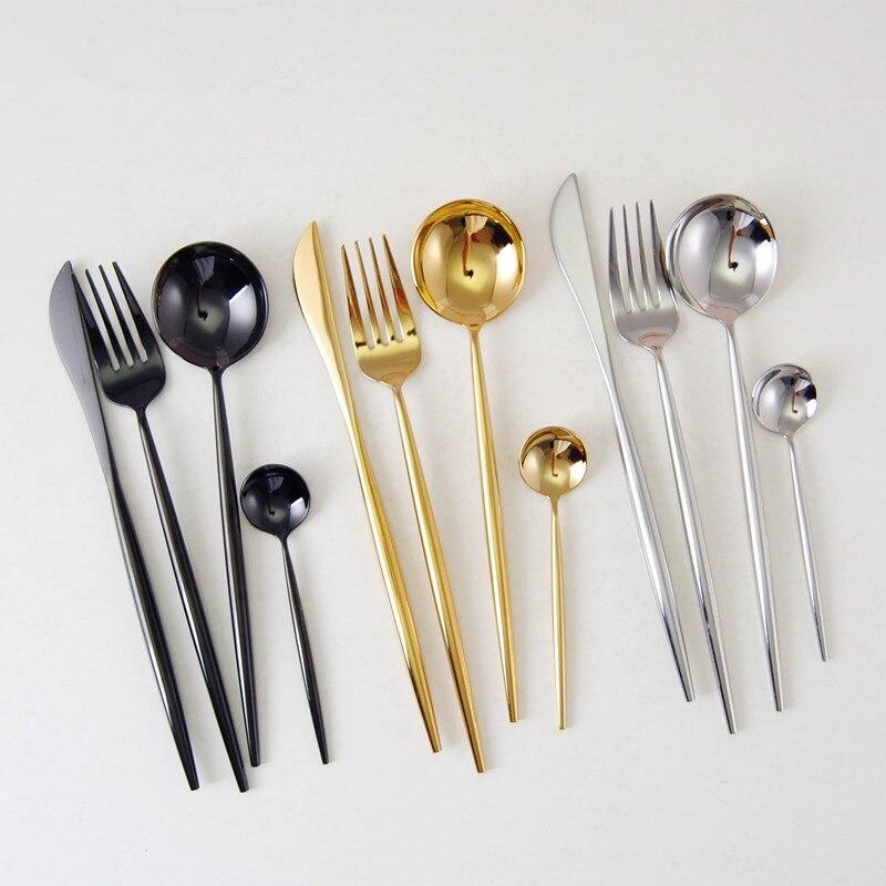 24pcs/6 set 304 Stainless Steel Mirror Tableware Set Rose Gold Silver European Western Food Dinnerware Sets knife Forks Teaspoon