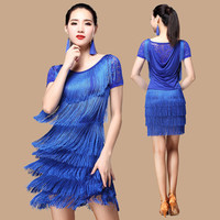 Latin Dance Costume Sexy Silk Short Sleeves Tassel Latin Dance Dress For Women Latin Dance Costume