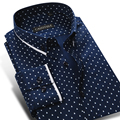 CAIZIYIJIA 2017 мужская Полька Dot Печати Pattern Повседневная Рубашка С Длинным Рукавом Хлопок Контрастного Цвета Slim-fit Кнопка-вниз Рубашка